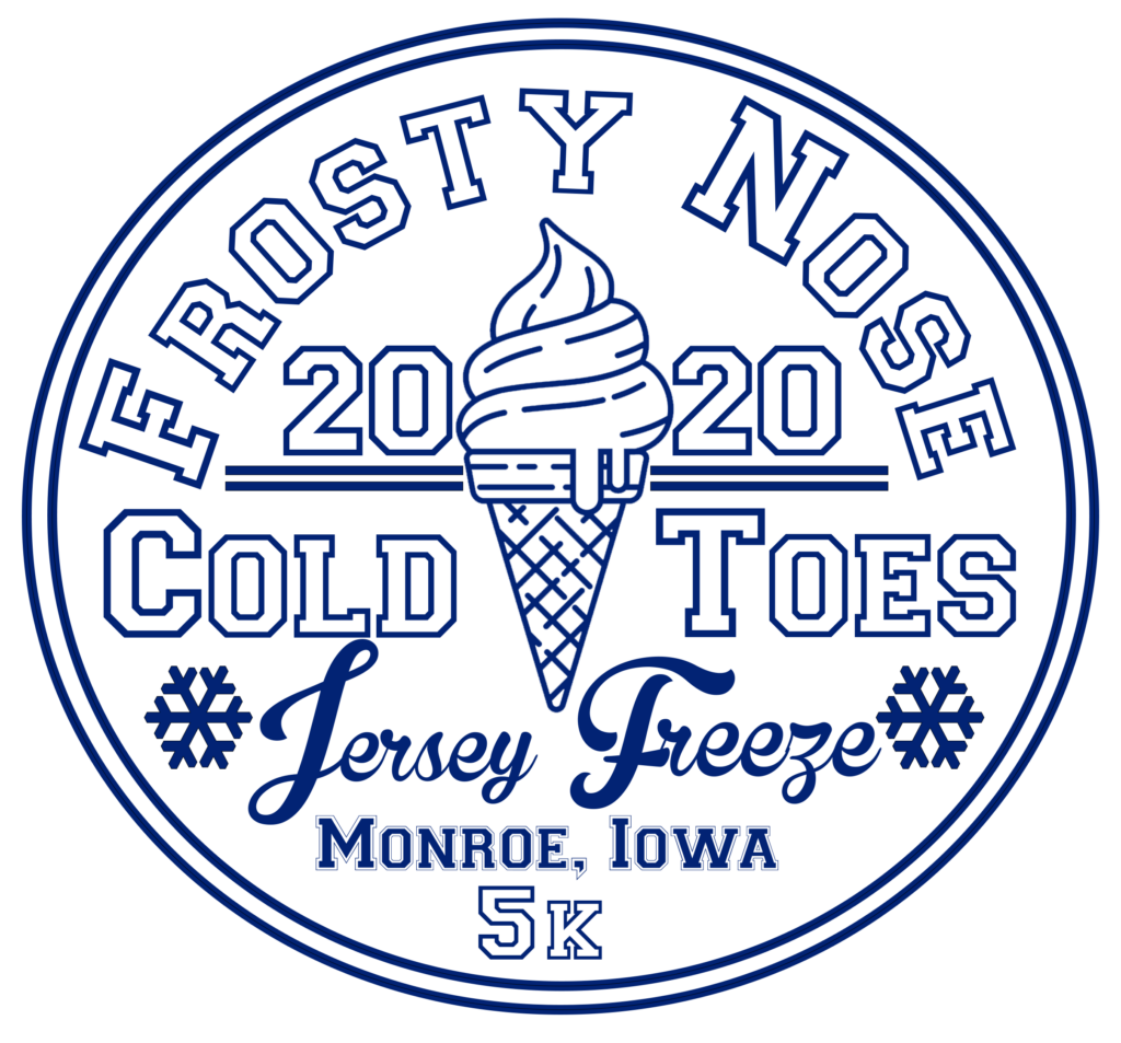 jersey freeze frosty nose cold toes 5k run 2020 logo